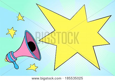 Blank flash bubble vector illustration with pink megaphone and stars. Trendy candy color banner template with empty text place. Cartoon megaphone in retro style with bubbles and stars. Feminine icon
