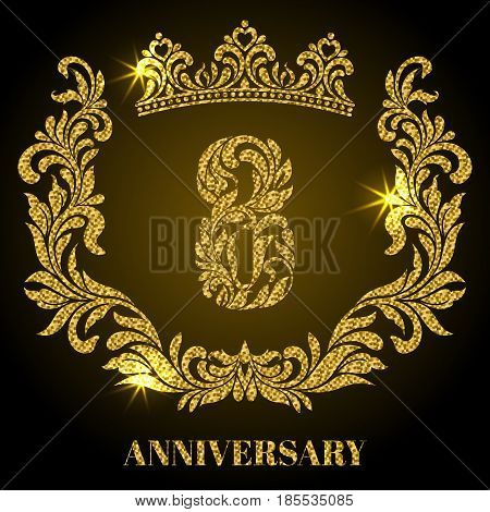Anniversary Of 8 Years. Digits, Frame And Crown Made In Swirls A