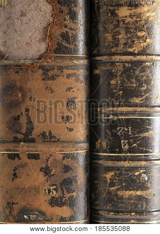 old vintage book hard covers ruined in brown colors