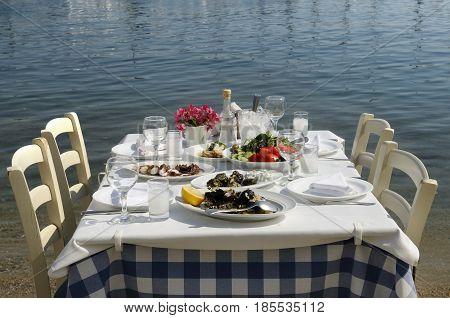 Greek tavern fish food  by the sea