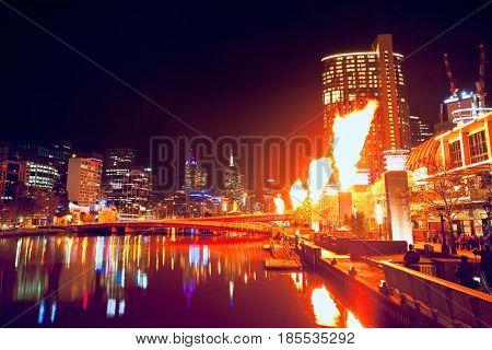 Melbourne CIty Scene at Night