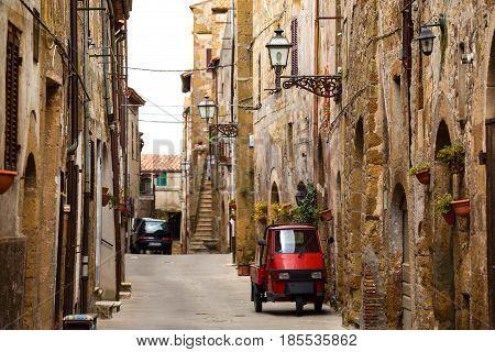 Piaggio Ape At The Empty Street