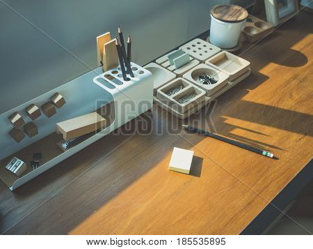 Table desk with stationary office work space Studio Creative Idea
