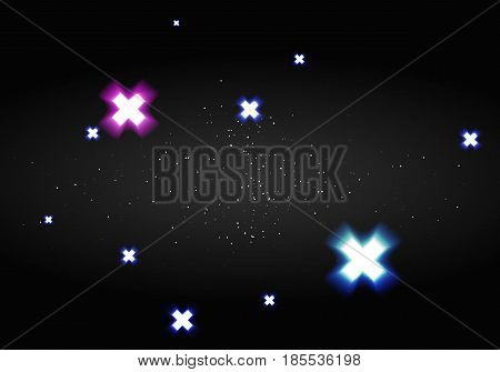 Vector background. Starry night sky with glowing colorful elements. Illustration