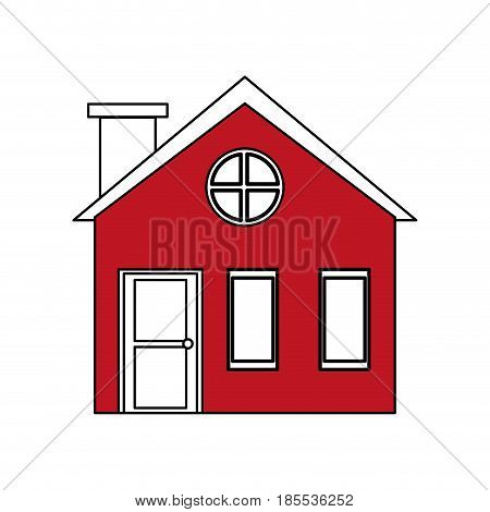 color silhouette cartoon red facade village with chimney vector illustration