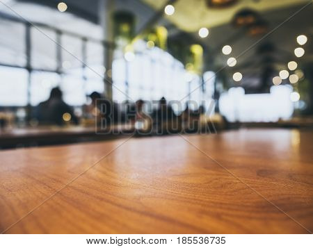 Table top Counter Blurred People Bar restaurant cafe interior background