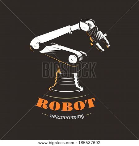 Automatic hydraulic robot in industrial production on a black background. Vector illustration in retro style