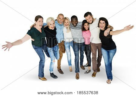 Diversity men and women group smiling arm around together