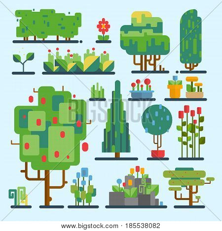 Funny cartoon fantasy shape tree set vector nature elements isolated enviroment landscape wood graphic illustration. Fantasy outdoor pixel art style elements