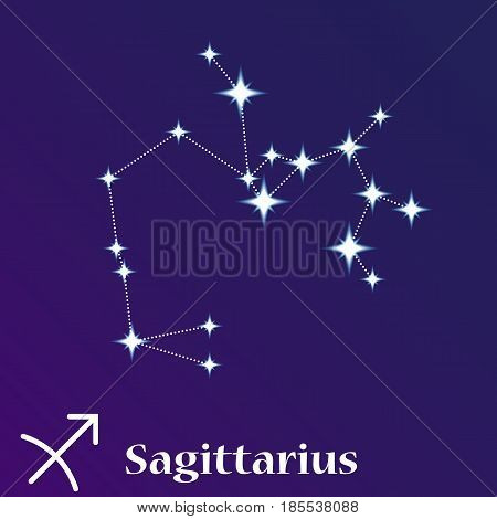 Sagittarius Zodiacal Constellation Vector Illustration, Horoscope Symbol, Sign Of The Zodiac