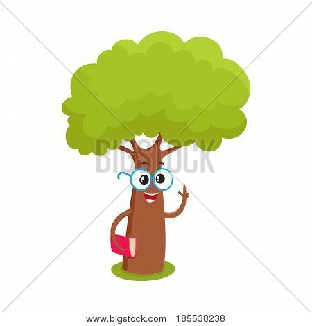 Funny smart comic tree character in round glasses holding a book, cartoon vector illustration isolated on white background. Funny tree character, mascot with smiling human face in round glasses