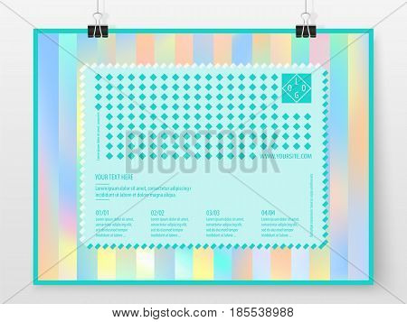 Poster Design Banner Business Concept Holographic Horizontal 3