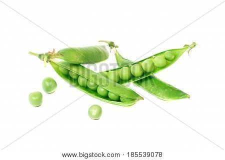 Pods of green organic peas with leaves over white background. Healthy food