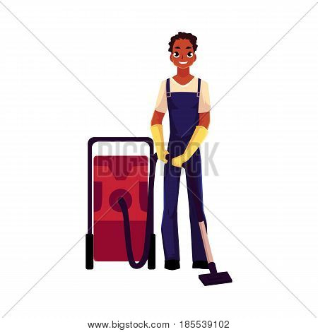 Black cleaning service boy, man in overalls with professional vacuum cleaner, cartoon vector illustration isolated on white background. African black cleaning service boy doing vacuum cleaning