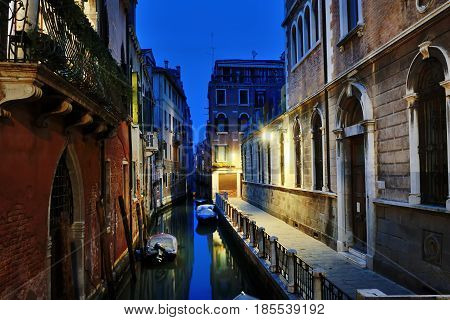Venice by night - scenic view of a canal Venezia Italy
