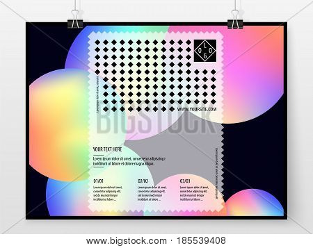Poster Design Banner Business Concept Holographic Horizontal 1