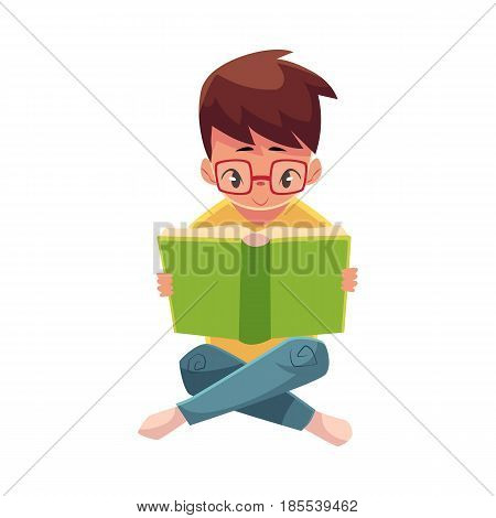 Little boy, kid, child in glasses reading book sitting with crossed legs on the floor, cartoon vector illustration isolated on white background. Little boy, kid in glasses reading book sitting