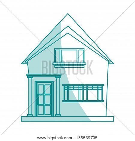 blue shading silhouette cartoon facade irregular structure house with modern style vector illustration