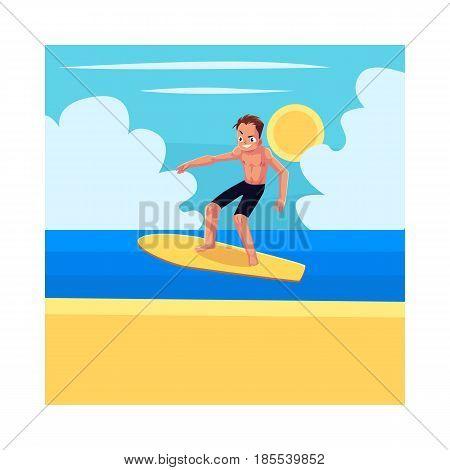 Man riding surfboard, enjoying summer water activities, cartoon vector illustration. Full length portrait of young man in shorts riding surfboard in sea, ocean, under blue sky