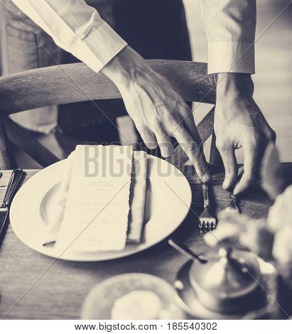 Butler prepare the dish and kitchen utensil