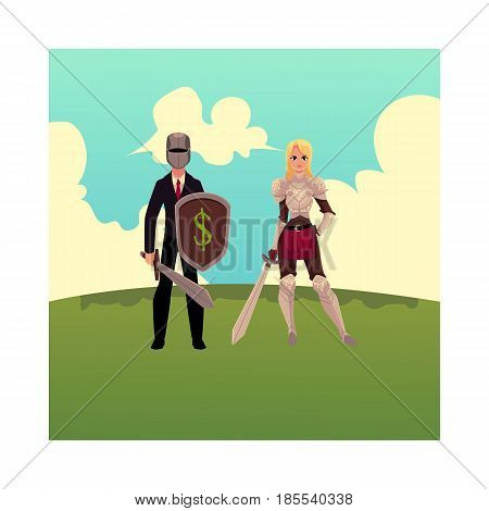 Two knights - modern businessman warrior and medieval armored woman, cartoon vector illustration isolated on white background. Modern business knight, medieval woman stands on green grass