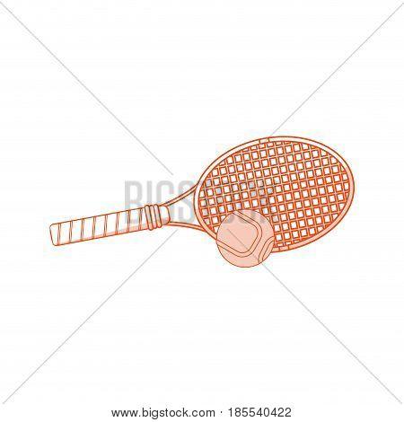 orange shading silhouette cartoon tennis racquet with ball vector illustration