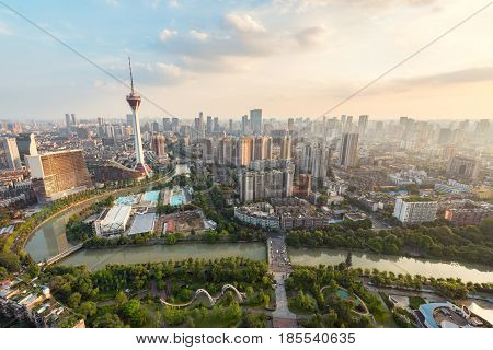 Chengdu Tv Tower Aerial View In Daylight