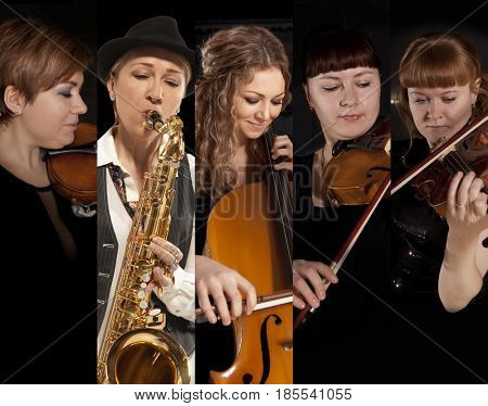 Musician play violin on dark background. Set musician