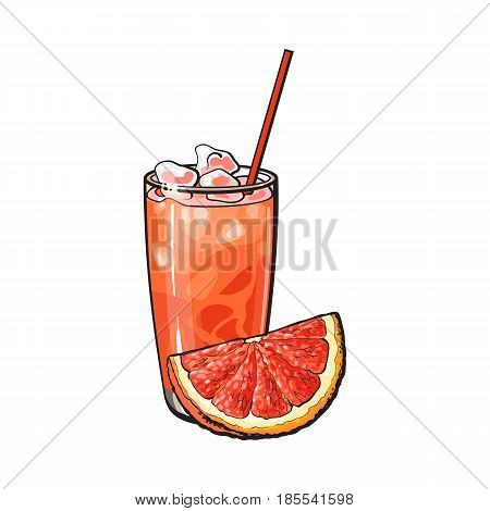 Grapefruit quarter, piece and glass of freshly squeezed juice with ice and straw, sketch style vector illustration on white background. Hand drawn glass of grapefruit juice and grapefruit quarter