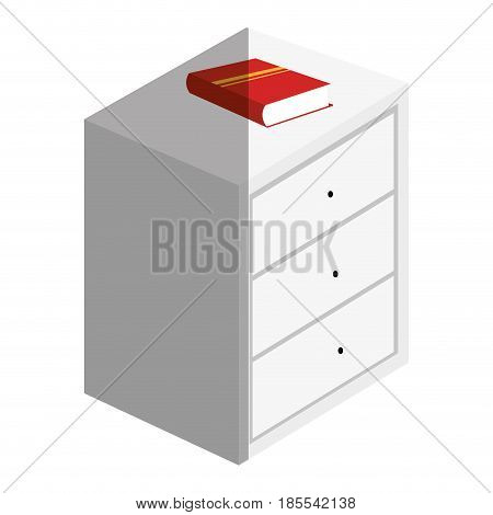 Bedside table with drawers and books vector illustration design
