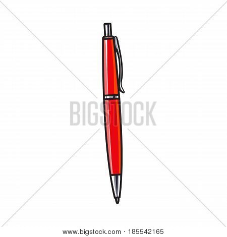 Simple hand drawn red ball point pen, office supply, writing accessory, sketch style vector illustration isolated on white background. Realistic hand drawing of red school pen