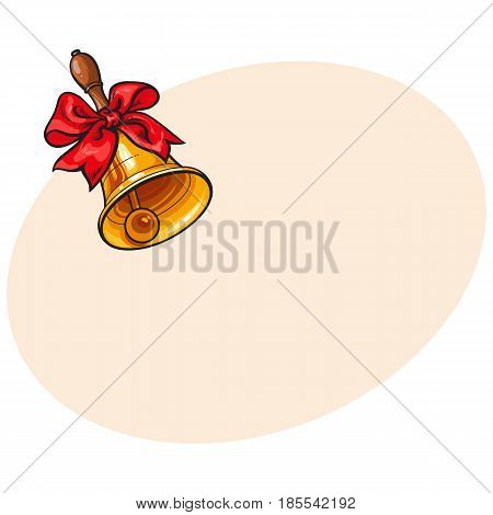 Traditional golden school bell with red ribbon, hand drawn sketch style vector illustration with space for text. Realistic hand drawing of golden bell with red ribbon, back to school symbol