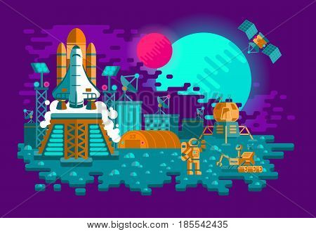 illustration of a flat style rocket on an unknown planet