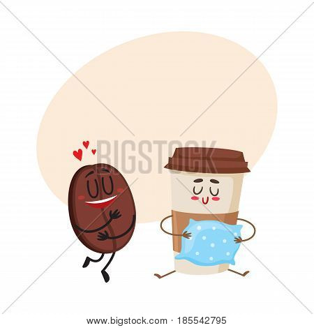 Funny characters of coffee bean showing love and glass holding a pillow, cartoon vector illustration with space for text. Coffee bean and espresso cup characters, mascots, coffee love