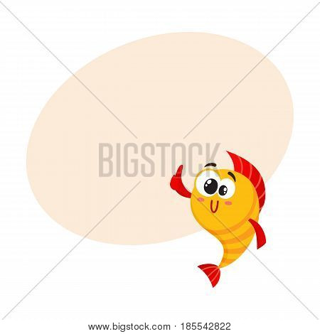 Cute, funny golden, yellow fish character with human face giving thumb up, cartoon vector illustration with space for text. Crazy yellow fish character, mascot showing okay sign