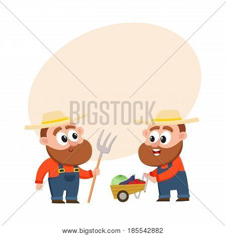 Funny farmer, gardener characters in overalls harvesting vegetables, pushing handcart, holding hayfork, cartoon vector illustration with space for text. Comic farmer characters, harvest time
