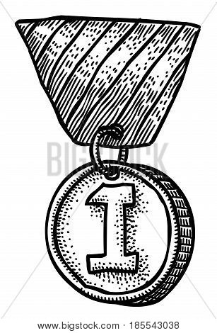 Cartoon image of first place medal. An artistic freehand picture.