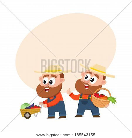 Funny farmer characters in overalls harvesting vegetables, one pushing handcart, another holding basket, cartoon vector illustration with space for text. Couple of comic farmer characters