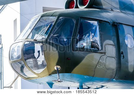 Helicopter cockpit outside wiev. on wall background