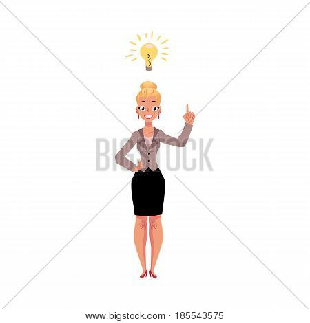 Young businesswoman having idea, light bulb as symbol of business insight, cartoon vector illustration isolated on white background. Businesswoman, business woman has just got idea, inspiring thought