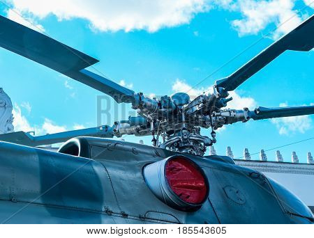 Military helicopter rotor blade detail close up.
