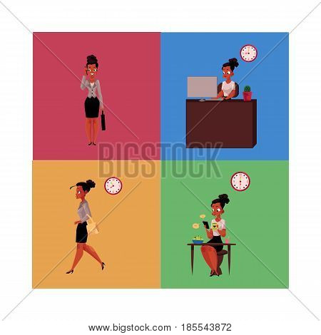 Work day of black, African American businesswoman - breakfast, hurrying, talking by phone, in office, cartoon vector illustration isolated on color background. Work day of black, African businesswoman