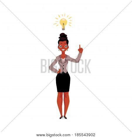 Black, African American businesswoman having idea, light bulb as symbol of business insight, cartoon vector illustration isolated on white background. Black businesswoman has just got idea, insight