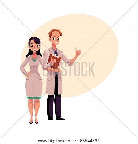 Male and female doctors in white medical coats showing, giving thumb up, cartoon vector illustration with space for text. Full length portrait of two doctors showing thumb up, okay sign