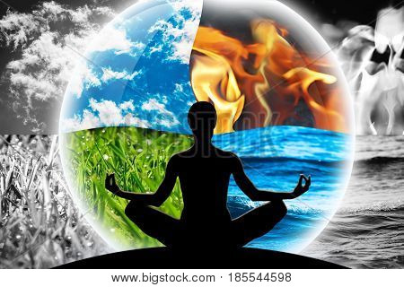 Female yoga figure in a transparent sphere composed of four natural elements (water fire earth air) as a concept for controlling emotions power over nature calm and optimism.