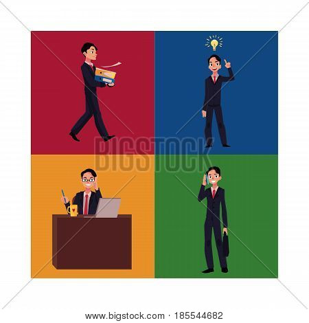 Businessman, manager working at workplace, having idea, bringing documents, talking by phone, cartoon vector illustration four situations. Businessman, employee in business situations