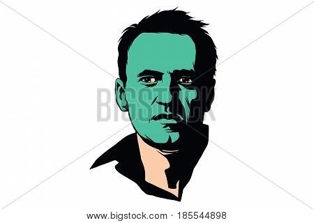 politician Alexei Navalny with a green face. Comic cartoon style pop art retro color vector illustration