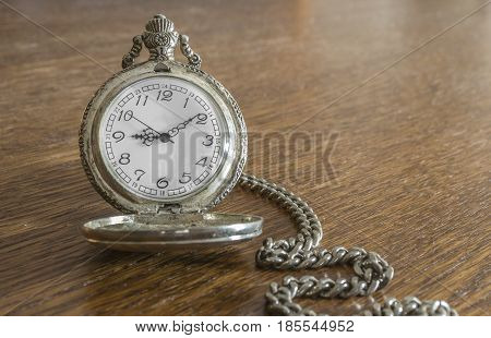 Areal photo of old pocket silver watch