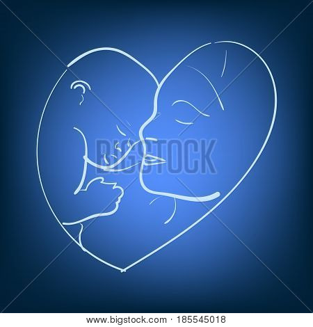 Vector illustration sketch mother with a small baby. Logo mom and newborn baby . Doodle hand-drawn line drawing. Woman holding infant. Side view of the profile.
