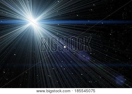 Stars in night sky by amateur telescope with light burst. (digitally created light burst on natural background).
